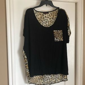 Black and Leopard Print Blouse